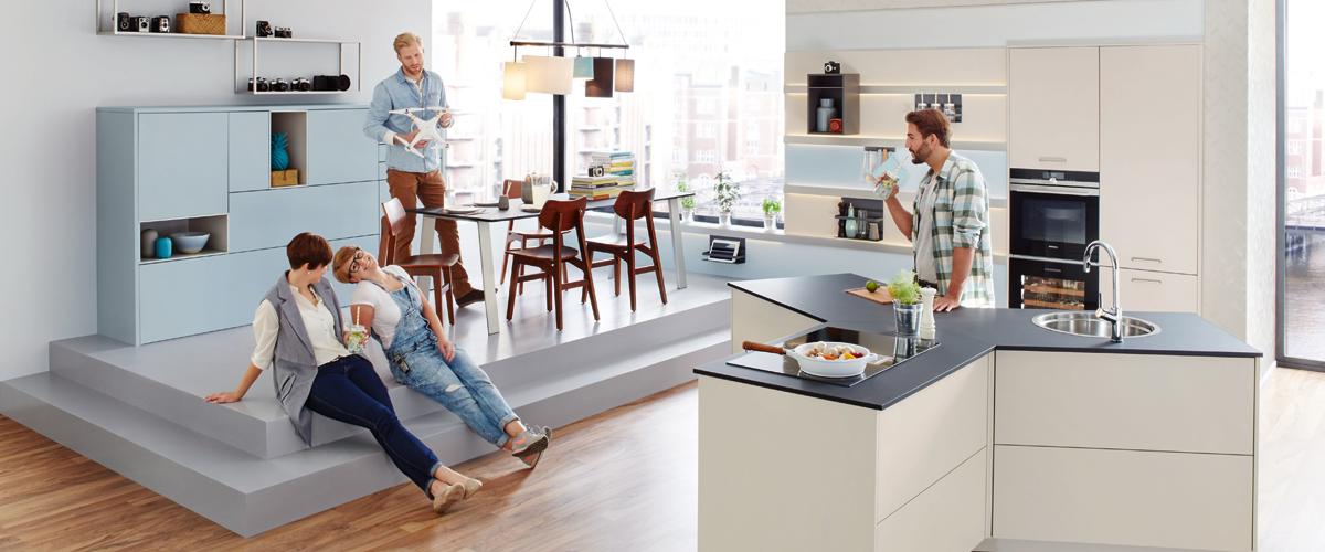 Seine y küche ist eine revolution die die wesentlichen funktionsbereiche bündelt und dabei ein neues raumgefühl eröffnet